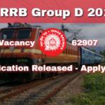 Railway Group D 2018 Recruitment, 62907 Posts Online Application -CEN 02/2018